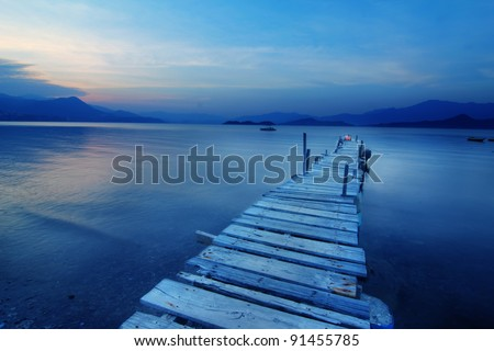 pier and boat, low saturation