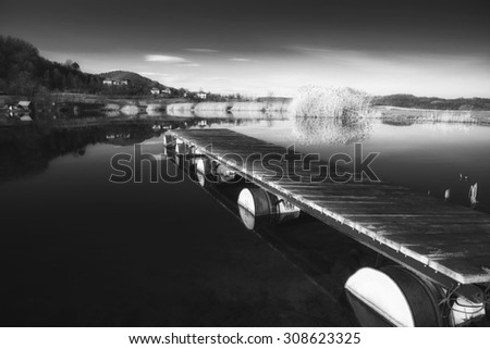pier and lake - stock photo