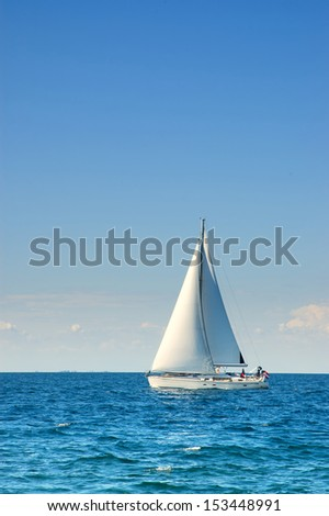 pier and tropical sea with yacht - stock photo