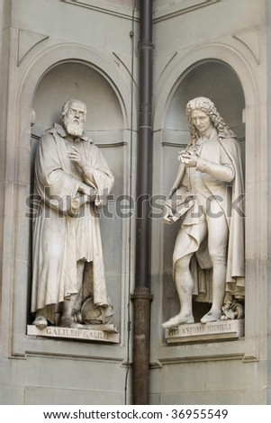 Pier Antonio Micheli and Galileo Galilei Statues - stock photo