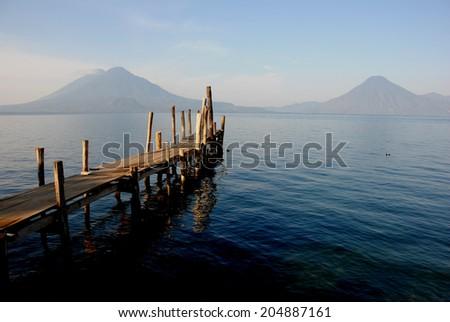 pier at Atitlan lake, Guatemala - stock photo