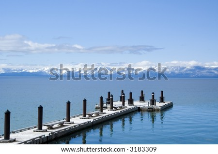 Pier at north end of Lake Tahoe - stock photo