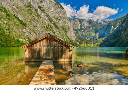 Pier at picturesque Obersee lake (near Konigsee) in Bavaria, Germany