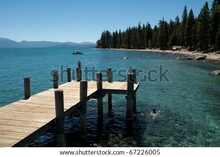 Pier at Sugar Pine Point State Park at Lake Tahoe - stock photo