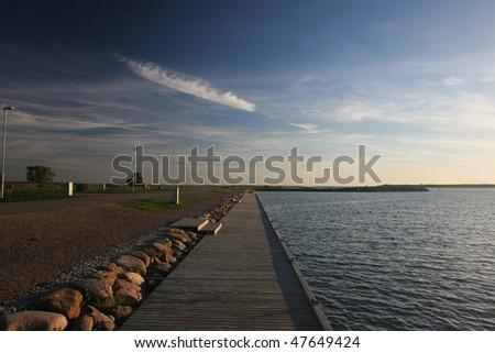 Pier at the evening (Kuressaare, Saaremaa island, Estonia) - stock photo