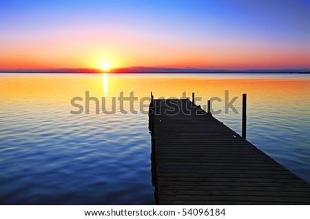 pier at the lake - stock photo