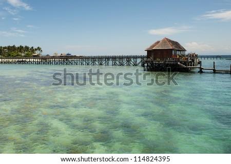 Pier at the Mabul Island - stock photo