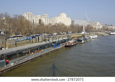 Pier at Victoria Embankment on the north bank of the Thames in London, England