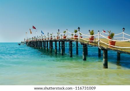 Pier beach hotel. Mediterranean. Turkey - stock photo