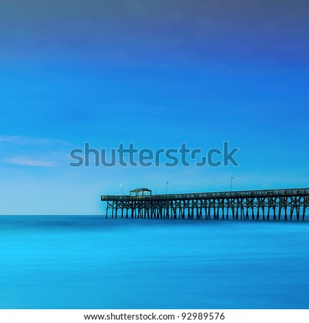 pier deep blue sky - stock photo
