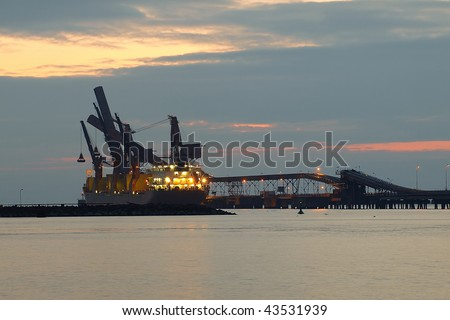 Pier for the loading of coal ships at the port of Gdansk, Poland. - stock photo