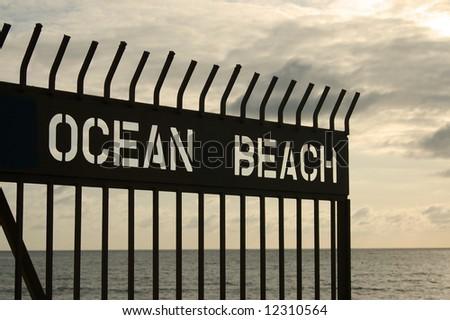Pier gate; Ocean Beach; San Diego, California - stock photo