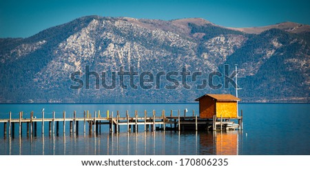 Pier in a lake, Lake Tahoe, California, USA - stock photo