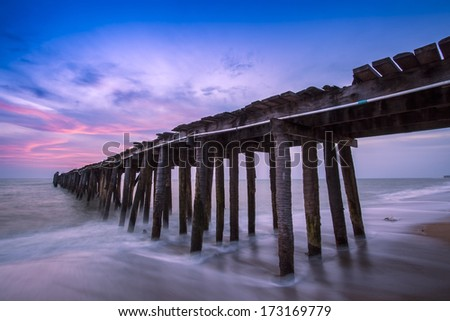 pier in amazing sunrise.  - stock photo