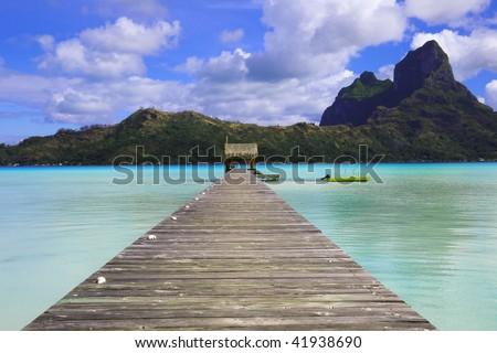 Pier in Bora Bora island - stock photo