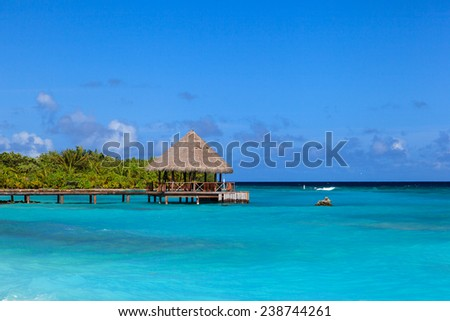 pier in luxury tropical resort on Maldives - stock photo