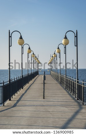 Pier in Miedzyzdroje, small town on Baltic sea, Poland - stock photo