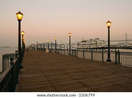 Pier 7 in San Francisco at dusk - stock photo