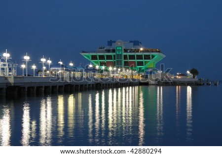 Pier in St. Petersburg at night, Florida USA - stock photo