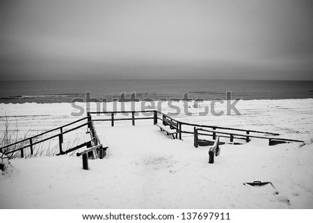 pier in the Baltic Sea resort town in Lithuania