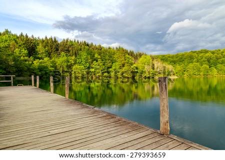 Pier in the lake - Plitvice National Park - stock photo