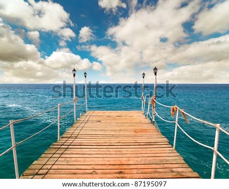 Pier in the sea, Turkey - stock photo