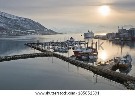 Pier in Tromso, Norway. - stock photo