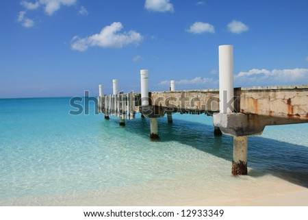 Pier in Turks and Caicos - stock photo