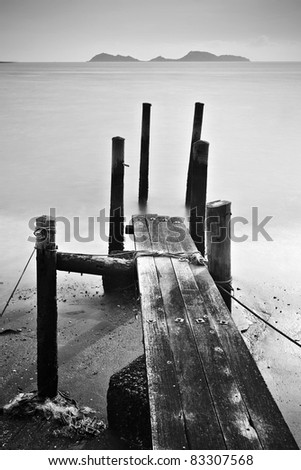 pier lonely abstract - stock photo