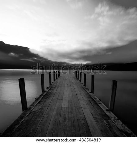 Pier Natural Scenic Landscape Boardwalk Bridge Concept - stock photo