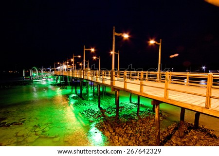 Pier of Baquerizo Moreno Port in Galapagos at night, Ecuador - stock photo