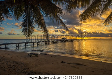 Pier on a tropical island, holiday landscape  - stock photo