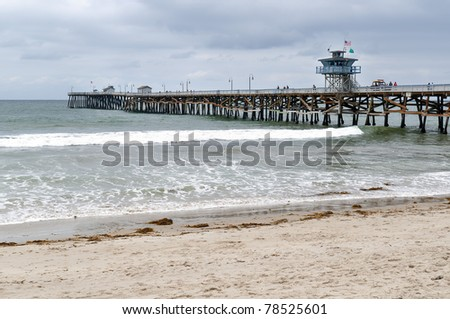 Pier on the beach in San Clemente, California - stock photo