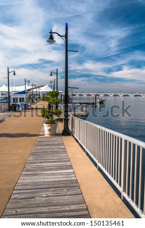 Pier on the Potomac River at National Harbor, Maryland. - stock photo