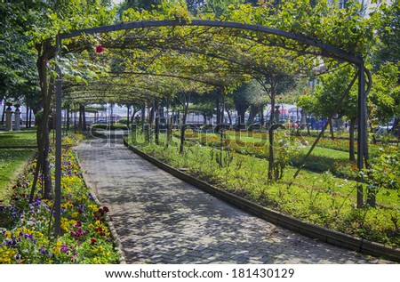 Pier Park in aviles Spain - stock photo