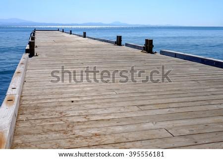pier sea - stock photo
