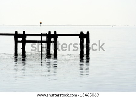 Pier silhouette - stock photo