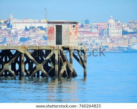 Pier view over Lisbon, Portugal