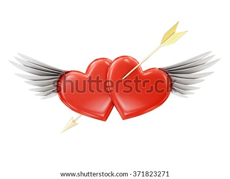 Pierced heart with wings on a white background. 3d rendering. - stock photo