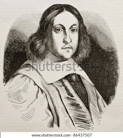 Pierre de Fermat old engraved portrait, French lawyer and mathematician. By unidentified author, published on Magasin Pittoresque, Paris, 1843 - stock photo