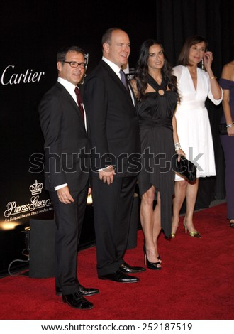 Pierre Rainero, Prince Albert II and Demi Moore at the 2009 Rodeo Drive Walk Of Style Award Ceremony Honoring Princess Grace Of Monaco held at the Rodeo Drive in Beverly Hills on October 22, 2009.  - stock photo