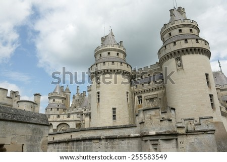PIERREFONDS, FRANCE-JUNE 11, 2008: Castle of Pierrefonds in Oise, Picardy region of France. Castle renovated by Viollet-le-Duc.