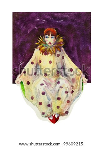 Pierrot in lilac square watercolor - stock photo
