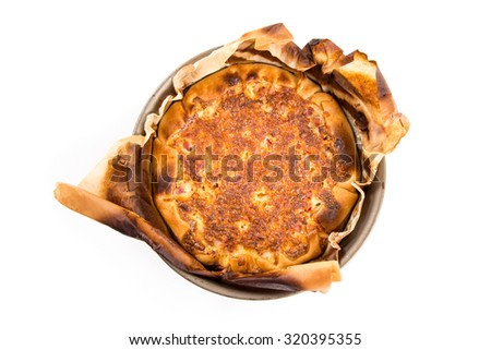 Pies and quiche ingredients for preparation isolated on a white background - stock photo