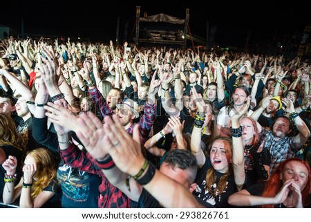 PIESTANY, SLOVAKIA - JUNE 26: Crowd of fans supporting Twisted Sister on music festival Topfest in Piestany, Slovakia on June 26, 2015
