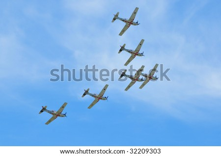 PIESTANY, SLOVAKIA - JUNE 14: Six airplanes of Krila Oluje - Croatian Air Force aerobatic display team perform in formation during airshow in Piestany, Slovakia, June 14, 2009.