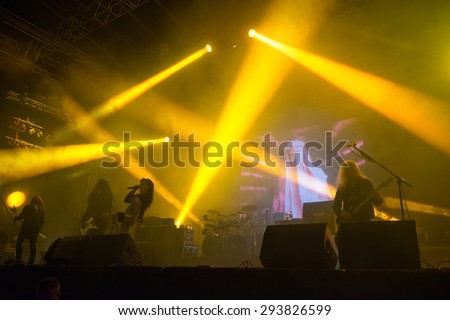 PIESTANY, SLOVAKIA - JUNE 26: Swedish melodic death metal band Arch Enemy performs on music festival Topfest in Piestany, Slovakia on June 26, 2015