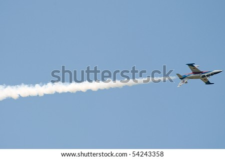 PIESTANY, SLOVAKIA - MAY 29: L-39 Albatros jet aircraft flying above Piestany airport during airshow, Slovakia, May 29, 2010