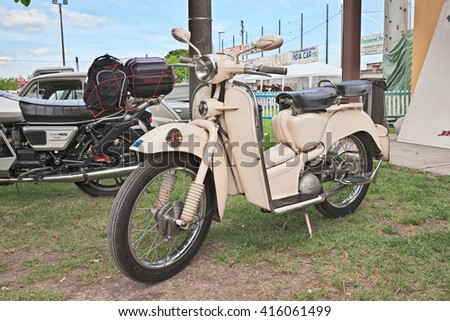 "PIEVE CESATO, RA, ITALY - MAY 2: old italian big wheel scooter Aermacchi Zeffiro 150 (1956) in classic motorcycle rally ""Raduno auto e moto d'epoca"" on May 2, 2015 in Pieve Cesato, Faenza, RA, Italy"