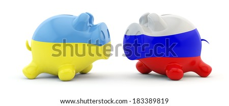 pig a moneybox with a flag of Ukraine and Russia - stock photo